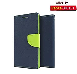 Wellcare Mercury Goospery FANCY Diary Card Wallet CASE Flip Cover for Micromax Canvas Juice 2 AQ5001 -Blue/Green
