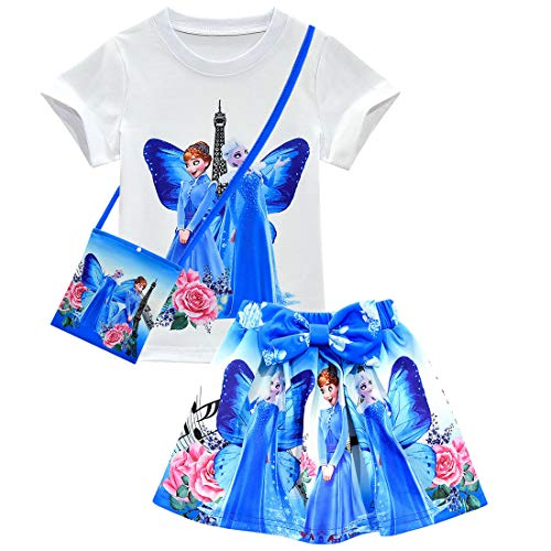 QYS Gefrorene kleine Mädchen 3Pcs Anzug Cartoon Tasche und Hemd und Rock Set,Blue,100cm