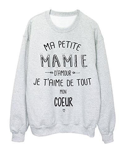 Sweat-Shirt citation Ma petite MAMIE Je taime de tout mon coeur ref 1914 Gris