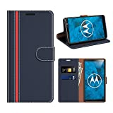 coodio Motorola Moto G6 Plus Hülle Leder, Moto G6 Plus Kapphülle Tasche Leder Flip Cover Schutzhülle Rugged für Motorola Moto G6 Plus Handyhülle, Dunkel Blau/Rot