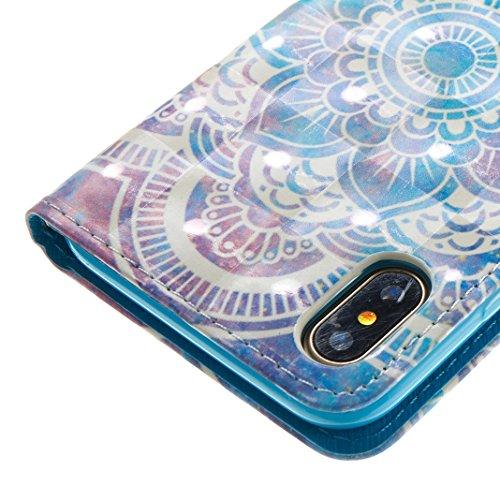 iPhone X Hülle, Asnlove Premium Leder Schutzhülle PU Leder Flip Tasche Case 3D Muster Serie Book Style mit Integrierten Kartensteckplätzen und Ständer für Apple iPhone 10 / iPhone X 5.8 Zoll 2017 - Kü Mandala Blau