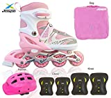 JASPO Sparkle Intact Adjustable Inline Skates Combo with Front Light up Wheels Beginners