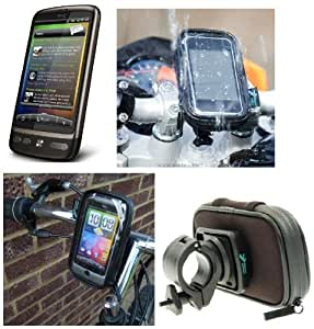 Motorcycle Motorbike Bicycle Bike Handlebar Mount with Waterproof Weather Resistant Case for the HTC Desire Z sku 8795
