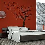 denoda Baum mit Vogelschwarm - Wandtattoo Schwarz 29 x 25 cm (Wandsticker Wanddekoration Wohndeko Wohnzimmer Kinderzimmer Schlafzimmer Wand Aufkleber)
