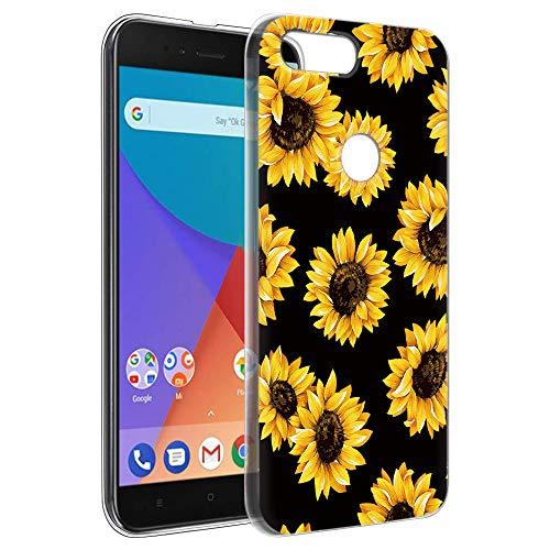 Pnakqil Funda Xiaomi Mi A1, Silicona Transparente con Dibujos Diseño Slim Gel TPU Antigolpes Ultrafina de Protector Piel Case Cover Cárcasa Fundas para Movil Xiaomi MiA1, Girasol Negra