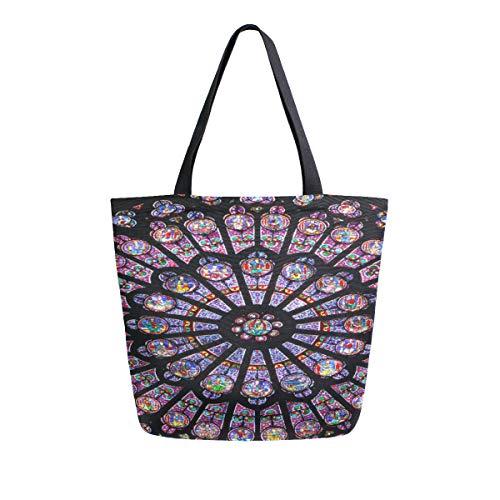 Luminous Great Paris Rose Window Tragbare Große Doppelseitige Casual Canvas Tragetaschen Handtasche Schulter Wiederverwendbare Einkaufstaschen Reisetasche Für Frauen Männer Lebensmittelgeschäft Reise -