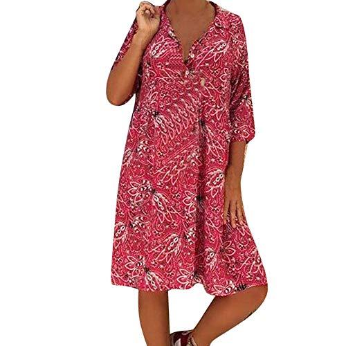 Higlles_Robe Chemise bohême col en V, Robe de Plage d'été en Vrac à Grande Taille pour Femmes