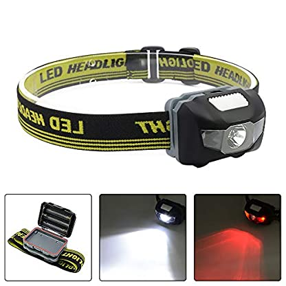 Blinkle Head Torch Ultra Bright Headlamps CREE LED 4 Modes Headlamp with Red Headlight Waterproof AAA Battery Powered for Running Camping Reading DIY 1