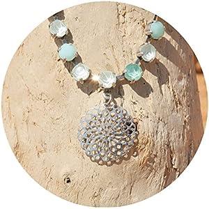 artjany Collier mandala swarovski kristalle puder green silber