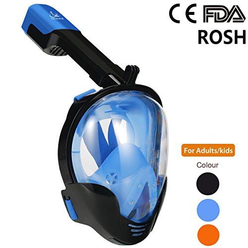 Cara Completa 180 Degree Viewing Diving Snorkel Mask Anti Niebla y Diseño Anti-Fuga Mejor Experiencia de Snorkeling para Adultos y Niños