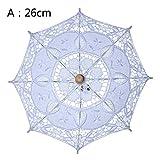 Weißer Spitzen-Sonnenschirm, Brautjungfernschirm, Retro-Stil, Holzgriff, Sonnenschirm für Frauen Mädchen, Hochzeit Foto-Shoot Dekoration, weiß