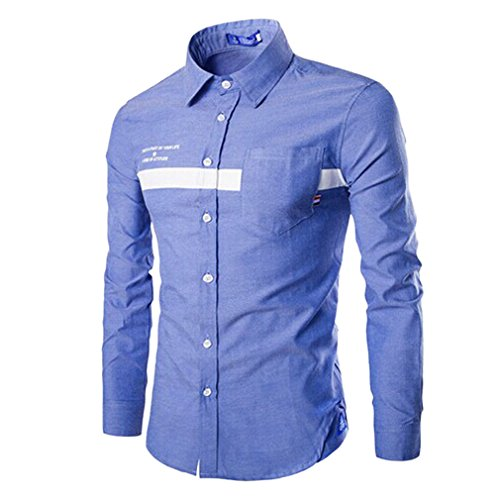 Honghu Homme Casual Slim Fit Manches Longues Frais Chemise Bleu clair