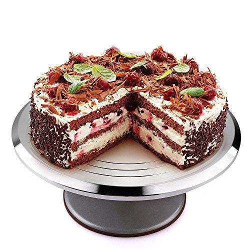 Uten Plateau Tournant pour Gâteau Pâtisserie 12 Pouces en Aluminium Présentoir Support Plaque à Gâteau Rond Rotatif pour Présentation Décoration de Cupcake Pâte Gâteaux Anniversaire Mariage Porte-cake