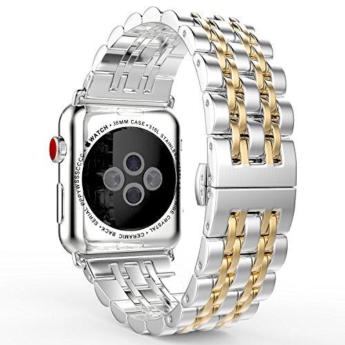 MoKo Armband Kompatibel für Apple Watch 38 mm Series 3/2 / 1, [Sieben Longines] Edelstahl Wrist Band Uhrband Uhrenarmband Erstatzband, Silber & Roségold