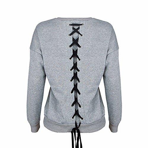 Topgrowth Camicia Donna Bendare Maglietta T Shirt Manica Lunga Blusa Elegante Casual Camicetta Autunno Inverno Pullover Top Grigio