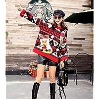 SWEAAY Jersey Navideño Jersey para Mujer Jersey De Punto para Computadora Suéter Casual para Mujer Patchwork Suéter, Rojo, Talla Única