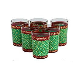 eCraftIndia Set of 6 Handpainted Decorative Glass Set - 114 Green Maroon Color
