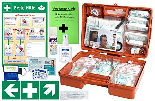 Erste-Hilfe-Koffer M5 PLUS für Betriebe DIN/EN 13157 & DIN/EN 13164 für KFZ - Komplett-Paket incl. Notfall-Beatmungshilfe + Hände-Antisept-Spray + Verbandbuch + Aushang 1.Hilfe + Sprühpflaster