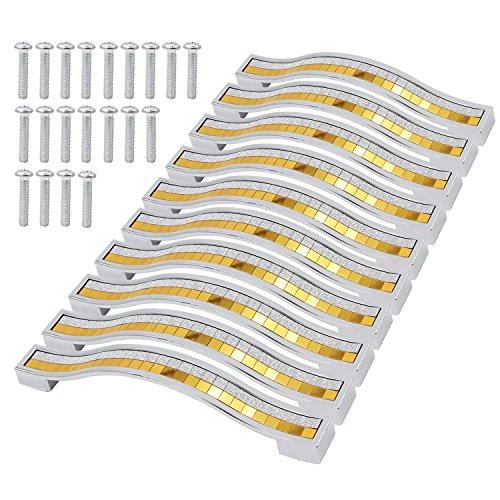 PsmGoods® Strass Kristall Schublade Knobs Europe Stil zine-alloy Möbel Tür Pull Griff für Kommode Schrank Küche Regler (128MM-10PCS, Silber Gold)