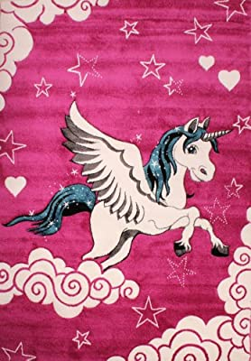 Children's Unicorn Bedroom Rug Pink Cream Turquoise
