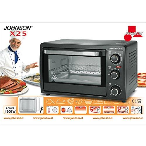 JOHNSON X25 FORNO FORNETTO ELETTRICO 25 LITRI STATICO E VENTILATO 1300W NERO