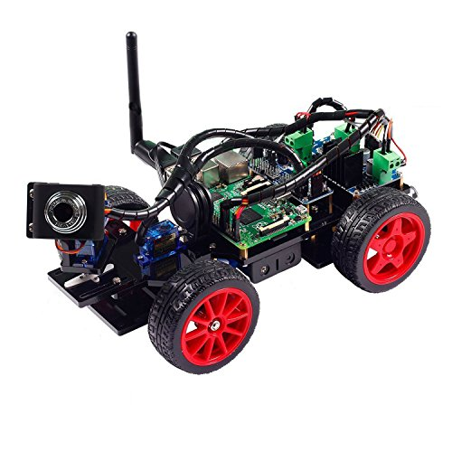 SunFounder Roboterbausatz Smart Video Car Kit Programmierbarer Auto-Roboter for Raspberry Pi with Android App, Compatible with RPi 3, 2 and RPi 1 Model B+ (Pi Not Included) (Black Acrylic) (MEHRWEG)