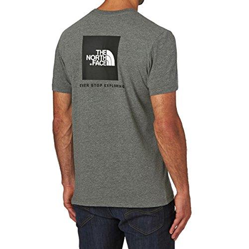 The North Face M S/S Shirt red box Tee Bomber Blue mit auffallenden Muster, Herren Medium Grey Heather