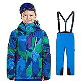 YFCH Jungen Mädchen Kinder Skianzug Skijacke Regenlatzhose Verdickung Skianzüge Klein Kinder Schneeanzug Wasserdicht Lang Jacket Wintermantel Mantel Skianzug