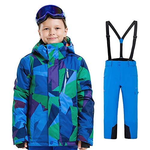 LPATTERN Kinder Jungen/Mädchen 2 Teilig Skianzug Schneeanzug(Skijacke+ Skihose), Blau-Grün Fraktalbild Jacke+ Blau Trägerhose, Gr. 116(Herstellergröße: 120) | 08712129536811