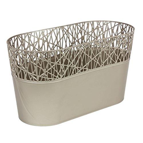 Ovale cache-pot CITY 28.5 cm en plastique romantique style, en platine