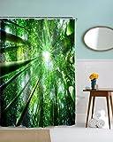 A.Monamour Sonnenschein Durch Bambus Bäume Wald Grüne Fotografie Bild Hintergründe Polyester Stoff Wasserdichte Duschvorhänge 180X180 Cm / 72X72 Zoll
