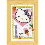 Vervaco - Kit para cuadro de punto de cruz, diseño de Hello Kitty con la letra L, multicolor