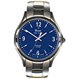 GARDE Herren-Armbanduhr Elegant Analog Edelstahl-Armband silber Funkuhr-Uhr Ziffernblatt blau UGA111026M