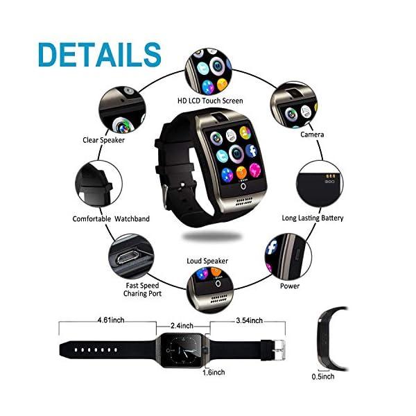 Smartwatch, Impermeable Reloj Inteligente Redondo con Sim Tarjeta Camara Whatsapp, Bluetooth Tactil Telefono Smart Watch… 5