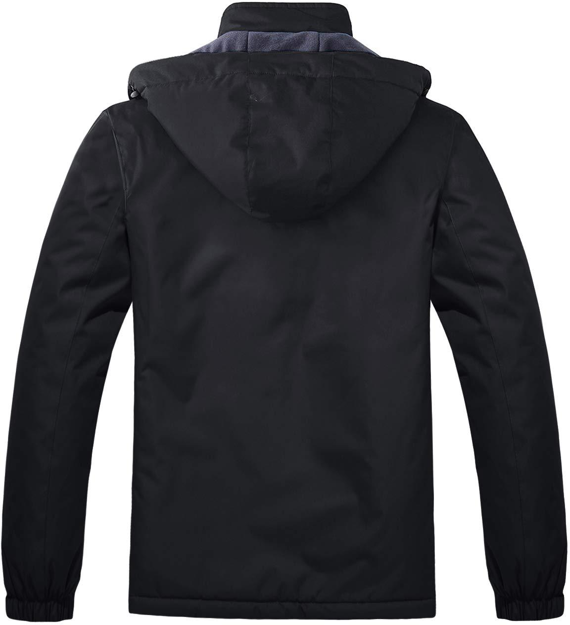 TACVASEN Women's Windproof Waterproof Jacket Softshell Warm Breathable Fleece Outdoor Coat with Detachable Hood
