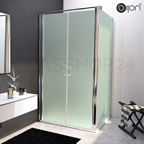 bijon® Design Glas Eckdusche mit Pendeltür   Nano   Mattglas   80 x 195cm + Seitenwand 80 x 195cm