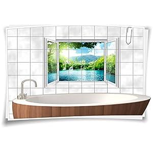 Fliesenaufkleber Fliesenbild Fliesen See Wasserfall Insel Aufkleber Bad Deko WC Badezimmer Dekoration, 90x60cm, 15x20cm (BxH)