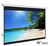 QAWACHH 84 Inch Portable Indoor Outdoor Electronic Projector Screen for Home/Office/Theater Electronic Projector