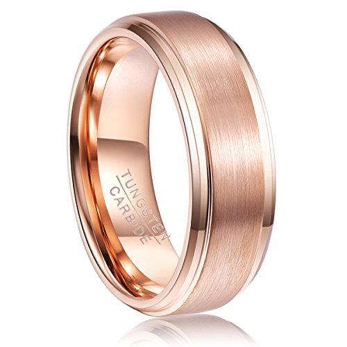 Wolfram Ring rosengold 8mm breit Damen/Herren, Nuncad Ring für Hochzeit, Verlobung, Partnerschaft und Geschenk, Größe 59 - Ehering 8mm