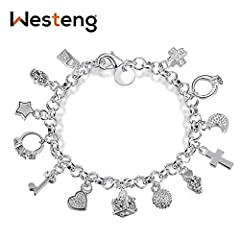 Idea Regalo - Westeng Braccialetto da Donna, Gioielli accessori con charm in argento con ciondoli pendenti (Fascino)