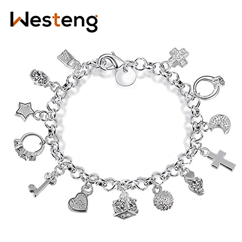 Westeng Charm Bracelet Women Silver Jewelry Hand Chain 13 Pendants Decoration