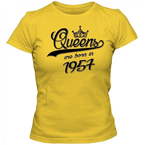 Queens are born in 1957 T-Shirt | Geburtstags-Shirt | Jahrgang | 60. Geburtstag | Frauen | Shirt Gelb (Gold L191)
