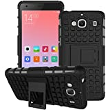 Defender Hard Armor Hybrid Rubber Bumper Flip Stand Rugged Back Case Cover for Xiaomi India RedMi 2/2s/2 Prime - Black