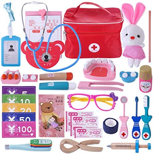 YAKOK 31er Holz Arztkoffer Kinder, Arztkoffer Holz Spielzeug Arzt Spielzeug mit Stethoskop Zahnarzt Spielzeug für Kinder Kleinkind Junge Mädchen ab 2-6 Jahre