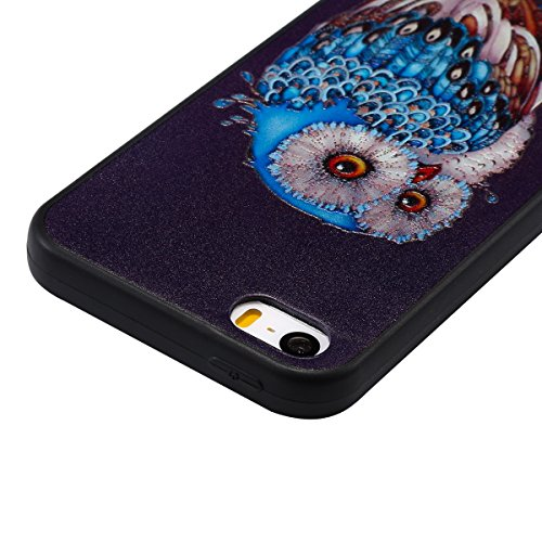 iphone 5S Silicone Cover, Custodia per iphone 5 Morbido, iphone SE Nero Cover, Ekakashop Clear 3d Sollievo Colorato Pattern Painting Animal Gel Silicone Gomma Soft TPU Ragazza Women Black Cover Shockp Gufo