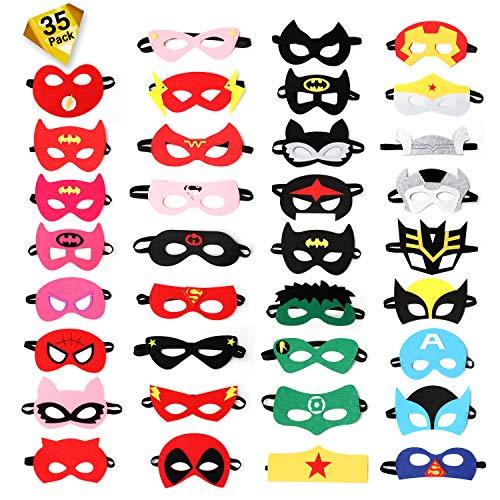 Ucradle Superhelden Masken - 35 Stücke Filz Augen Masken Superhero Cosplay Party Halbmasken für Kinder, Gastgeschenke für Geburtstag Bühnenaufführungen Karneval, Perfekt für Kinder ab 3 Jahren