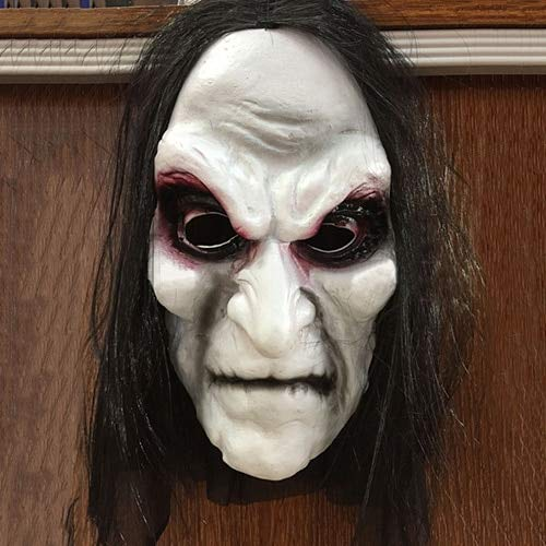 Macxy - Scary Schwarz Langes Haar blooding Geistermaske Cosplay Halloween Kostüm-Partei-Prop (Kürbis Halloween Scary Schablonen Für)