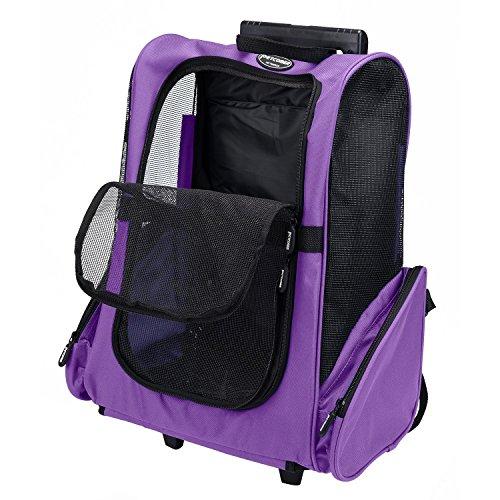 Rolle um 4-in-1 Haustier Reise Rucksack Trolley Tasche für Hunde und Katzen Fluggesellschaft genehmigt (Violett) (Tragen Bag Tote)