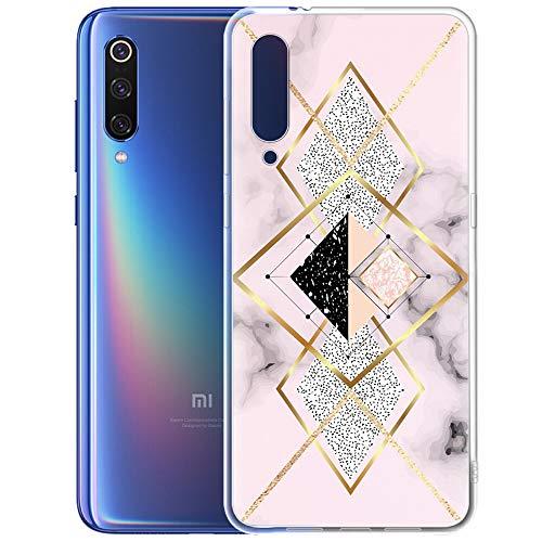 ZhuoFan Funda Xiaomi Mi 9, Cárcasa Silicona 3D Gel TPU Transparente con Dibujos Marmol Diseño Antigolpes de Protector Case Cover Fundas para Movil Xiao mi Mi9 2019, Oro Rosa