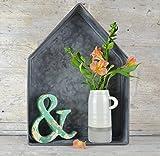 Hängeregal im Industrie Stil aus Metall in Hausform - Wandregal 30x41x10 im Vintage Shabby Style – Deko-Regal Haus groß
